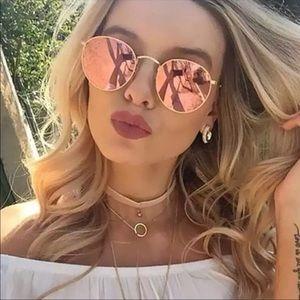 Round Rose Gold Colored Sunglasses